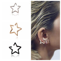 1 Pair Boho Women Fashion Hollow Simple Small Star Shaped Hoop Earrings Jewelry
