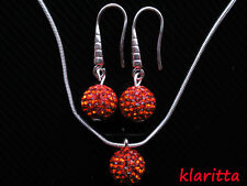 Shamballa Red Crystal Disco Ball Costume Jewellery Set Earrings & Necklace CC71N