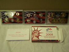 2008 silver proof set,complete , with boxes & coa