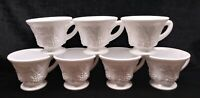 Vintage Colony Milk Glass 7 Cups Harvest Pattern