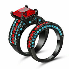 SZ7 Black Rhodium Plated Wedding Engagement Ruby Ring Band Set Anniversary Party