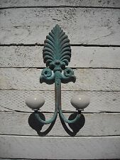 Shabby Chic Vintage Iron Double Hook – Distressed Blue, Ceramic Tips