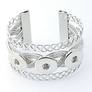Silver Punk Drill Snap Bangle Bracelets For 18mm Noosa Snaps Charm Button