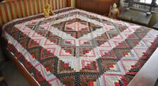 Antique 19th c Hand Stitched Calico Log Cabin Quilt