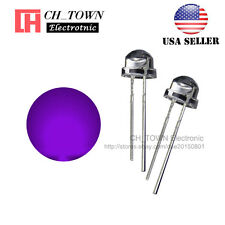 100pcs 5mm Straw Hat Purple/UV Light Wide Angle Transparent LED Diodes USA