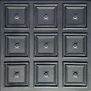 "Ceiling Wall Backsplash Tile Glue Up, PVC 20""x20"" ROCOCCO Black"