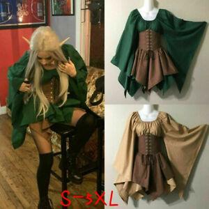 Women Medieval Costume Dress Elf Corset Fairy Skirts Woodland Halloween Retro LH