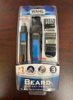 WAHL Nose Ear Body Beard Hair Wet/Dry Battery Precision Blade Trimmer Set ~ BLUE