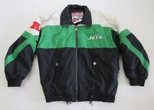New York Jets Mens Jacket Coat Sz Lg Embroidered Nutmeg Sports Full Zip 1990s
