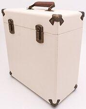 "GPO Cream Record Case 12"" Vintage Style Storage DJ Carry Flight Box Vinyl LP"