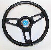"C10 C20 C30 Blazer Grant Black Steering Wheel Black spokes 13 3/4"" blue bowtie"