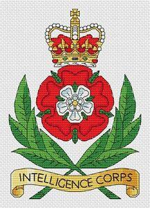 "Intelligence Corps Army Cross Stitch Design (6x8"", 15x20cm, kit or chart)"