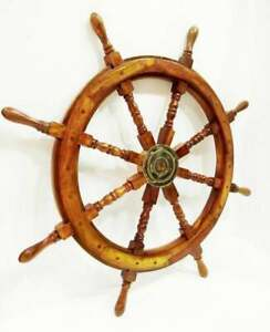 "Antique Wooden Ship Wheel 36"" Large Steering Captain Wheel Nautical Wall Decor"
