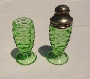 Vintage Hazel Atlas Depression Glass Green Salt and Pepper Shakers