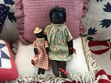 Antique/Vintage Stockinnette Black Sock Doll With Her Dolly