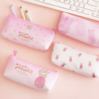 Cute Girls Pencil Bag School Kawaii Fruit Peach Pineapple Pencil Case Stationery