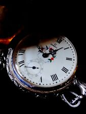 Vintage CONSUL 17 Jewels Swiss Made Hand-Winding Silver Engraved Pocket Watch