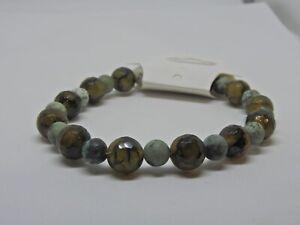 Shades Of Forest Green Elastic Handmade Bracelet - Kokolakshan