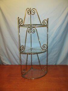 Vintage Mid Century Large Gold Ornate Metal Glass Wall Hanging Corner 3 Shelf 26