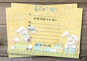 1-10 BUNNY HOPPY HOPS EASTER PARTY, EGG HUNT INVITATIONS OR THANK YOU CARDS