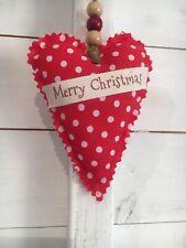 Rustic Shabby Chic Hanging Love Heart Christmas Tree Decoration Door Hanger Red