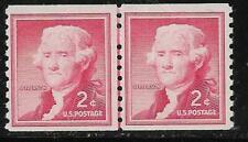 Scott 1055 US Stamp 1957 2c Thomas Jefferson MNH Liberty Series Line Coil Pair