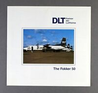 DLT GERMANY FOKKER 50 AIRLINE BROCHURE WITH SEAT MAP LUFTHANSA PARTNER