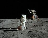 BUZZ ALDRIN APOLLO 11 ASTRONAUT DEPLOYS EXPERIMENT - 8X10 NASA PHOTO (BB-010)