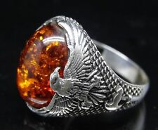 Turkish 925 Sterling Silver special orange amber stone Mens ring ALL SİZE us 0
