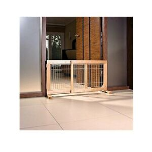Wooden Dog Barrier Pet Gates Puppies Small Dogs Two Way Access Wood Door Brown