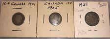 Canada  10 Cent  1901 1905 1931 Silver Dimes