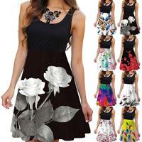 Womens Boho Floral Printed Sleeveless Mini Dress Vest Tops Summer Beach Sundress
