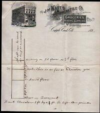 Cripple Creek CO c1890 - J M Mercantile Co Miners Supplies Letter Head history