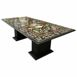 """72"""" x 42"""" Marble center table top pietradura inlay with marble Stand"""