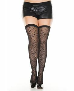 New Music Legs 4770Q Plus Size Spider Web Thigh High Stockings