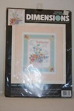 Dimensions #3802 Teddy Bear Birth Record - Complete Counted Cross Stitch Kit
