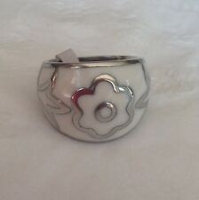 Stainless Steel Enameled Ring, Size 9