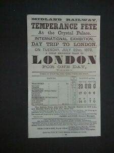 VICTORIAN POSTER , MIDLAND RAILWAY,  TEMPERANCE FETE AT THE CRYSTAL PALACE