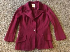 Vintage 70s Polyester JACKET Coat Red Burgundy Riviera Double Knit Womens