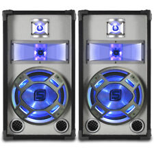 "2x Skytec 10"" PA Party Disco Black White Blue LED DJ Speakers Karaoke 800w"