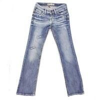 Buckle BKE STELLA Mid Rise BootCut Jeans Stretch Distressed 24 MEASURE 26 x 31.5