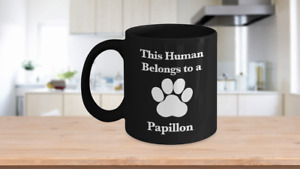 Papillon Mug Black Coffee Cup Continental Toy Spaniel Dog Mom Fur Dad Human Pup