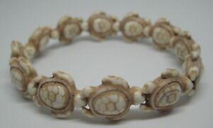New Hawaiian Sea Turtles Honu Stretch Bracelet Ivory Color Stone Beads Charm