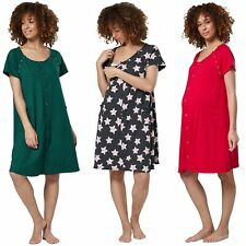 HAPPY MAMA Women's Maternity Nursing Delivery Hospital Gown Nightshirt 1029