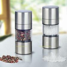Silver Manual Stainless Steel Salt Pepper Mill Grinder Muller Kitchen Tool