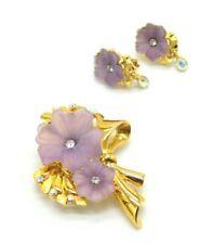 1997 Trifari TM Limited Edition Purple Rhinestone Hibiscus Flower Brooch Earring