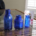 3+Antique+Medicine+Bottles%2C+Cobalt+Blue+Ink%2C+Hand+Blown+Bromo-Seltzer+1900