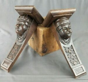 "Antique Carved Oak Pair Figural Shelf Brackets Corbels Medieval Theme 11""H"