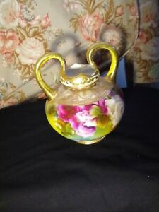 ANTIQUE HAND PAINTED VASE ROSES Unmarked Nippon?