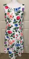 NWT Calvin Klein Size 12 white green pink floral sleeveless flare dress women's